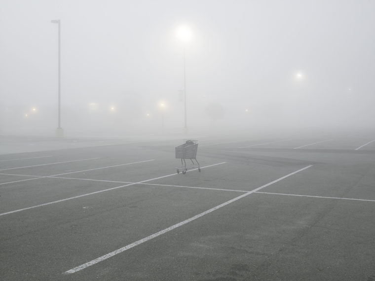 Shopping Cart, Tanger Factory Outlet Center, Interstate I-10, Gonzales, Louisiana, 1998, pigment print