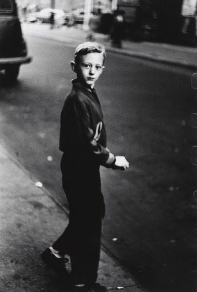 Boy stepping off the curb, 1957-58,