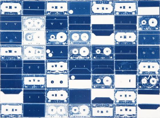 Cassette Grid No. 13, 2009, cyanotype