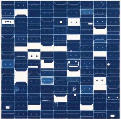 Large Cassette Grid No.9, 2009, cyanotype