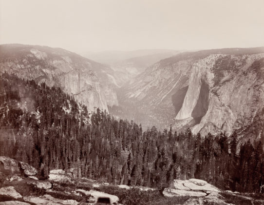From the Sentinel Dome, Down the Valley, Yosemite, ca. 1865-66, mammoth-plate albumen print