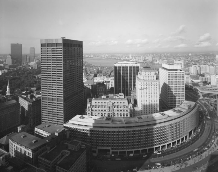 View of Center Plaza and Suffolk County Courthouse, Boston, 1975, gelatin-silver contact print