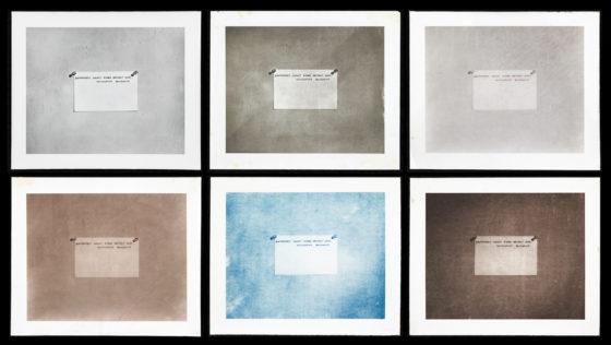 Photography Before the Age of Mechanical Reproduction, 2011, gelatin-silver print [I], platinum print [II], collodion print [III], albumen print [IV], cyanotype print [V] & salt print [VI]