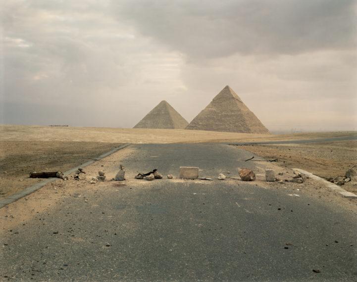 Road Blockade and Pyramids , 1989, pigment print