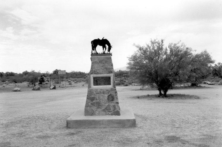 In Memory of Tom Mix, Near Florence Arizona, 1975, gelatin-silver print