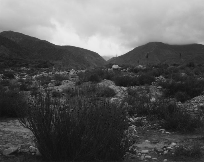 Looking into the San Bernardino Mountains from east of Mentone, California, 1982, gelatin-silver print