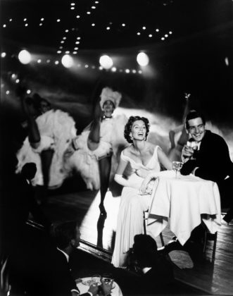 Richard Avedon, Suzy Parker and Robin Tattersall, Evening Dress by Grès, Moulin Rouge, Paris, August, 1957, gelatin-silver print