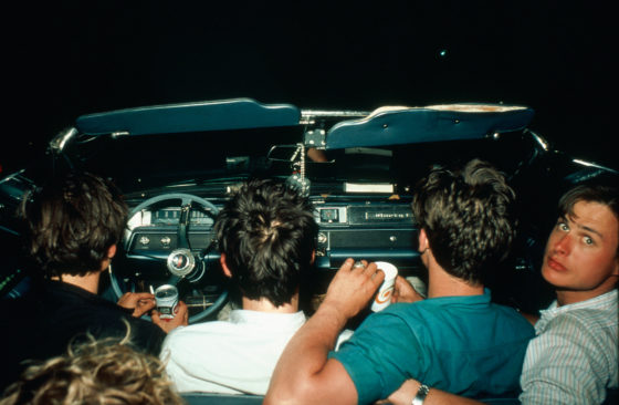 Four boys in the convertible at the drive-in, New Jersey, 1979, Cibachrome print