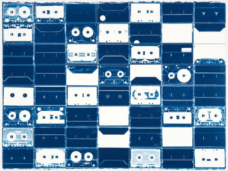 Cassette Grid No. 10, 2009, cyanotype