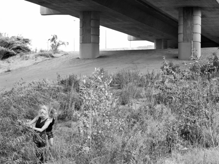 Deb and Pam Play Under 9th Street Bridge, Modesto, CA, 2013