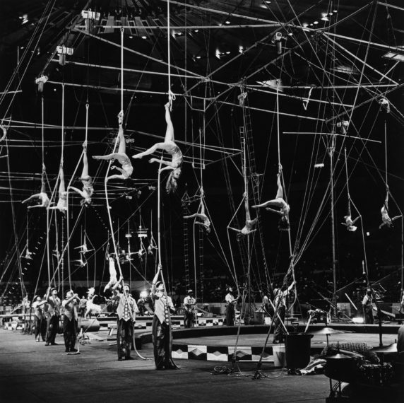Trapeze Artists in Formation (I),, 1973, gelatin-silver print