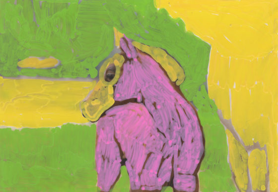 Untitled (Pink horse), 2014, acrylic on found photograph