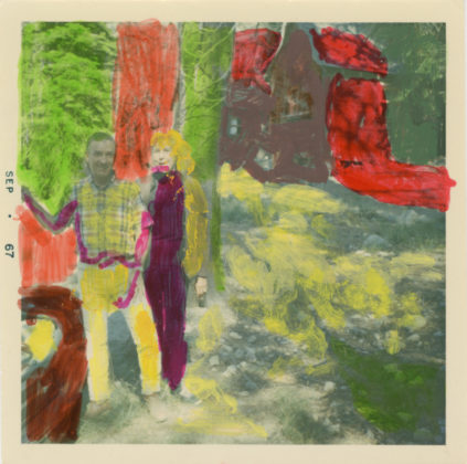 Untitled (Couple in forest), 2014, acrylic on found photograph