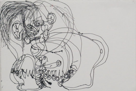 Untitled (Figure with hands), 1998, ink on paper