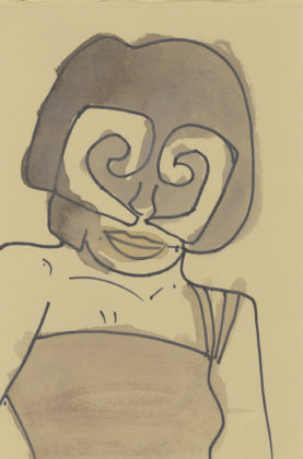 Untitled (Woman with curly mask), 2015, ink and watercolor on paper