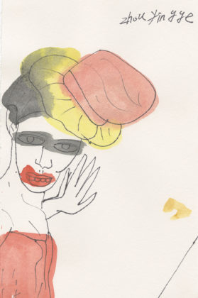 Untitled (Woman with yellow and red hat), 2015, ink and watercolor on paper