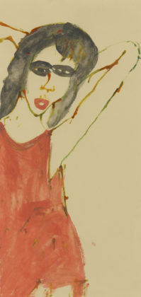 Untitled (Red dress), 2014, ink and watercolor on paper
