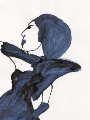 Untitled (Blue dress with wide shoulder) , 2014, ink and watercolor on paper