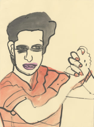 Untitled (Man clasping hands), 2014, ink and watercolor on paper