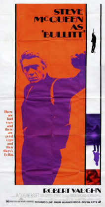 Bullitt, Dir. Peter Yates.  Perf. Robert Vaughn, Jacqueline Bisset, Don Gordon, and Robert Duvall. Warner Brothers, 1968. Film poster.