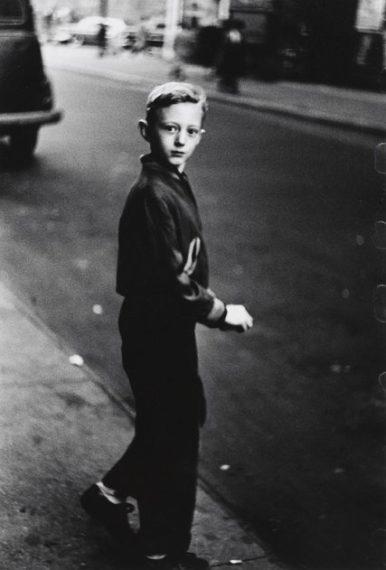 Boy stepping off the curb, 1957-58,
