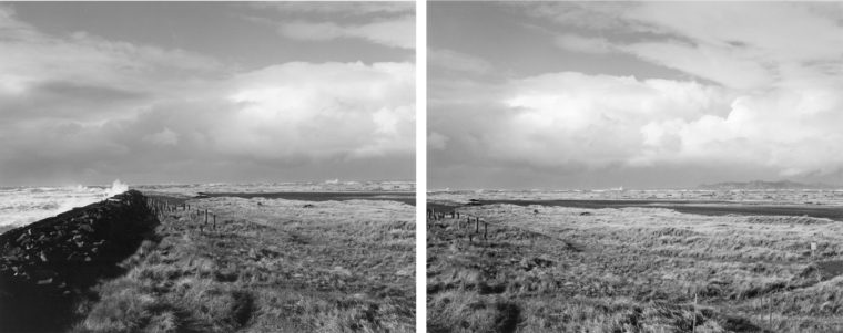 Winter, northwest across dunes and tidal marsh Inside the South Jetty, Clatsop County, Oregon, 1990, gelatin-silver print